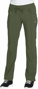 CHEROKEE Women's Infinty Low Rise Straight Leg Drawstring, Olive, Size X-Small
