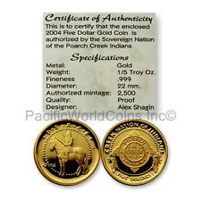 Creek Nation 2004 Peace $5 1/5 oz Gold Proof Coin with COA SKU#7249