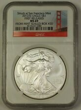 2012-S American Silver Eagle ASE $1 Coin First Releases NGC MS-69 Mint Box #20