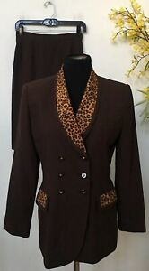 Kasper A.S.L Women's Career Brown Leopard Polyester 2 Piece Skirt Suit Size 8P