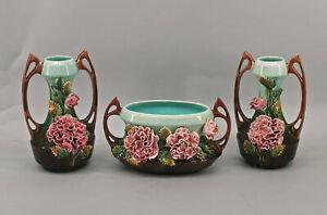 8645001 Majolika-Garnitur Vasenpaar Jardiniere Rosen Jugendstil