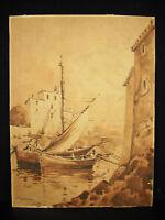 Sicht Vom Hafen aus Saint Tropez 1920 Zeichnung Original Signiert Wash Tinte