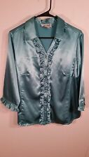 Womens VTG Anthony Richards Petite Size 14P top shirt ruffled 3/4 sleeve Shiny