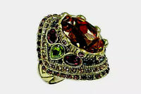"Heidi Daus ""Shirli Stunning Statement Multi Gemstone Ring Size 5 Retail"