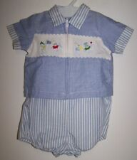 Vintage Baby Boy 2 Piece Light Blue/White 1 Pc Rumper/Top (For Large Doll)