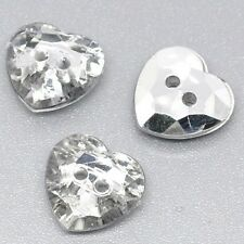 50/100 Diamonte Gem Crystal - HEART - Buttons  -  Sewing - UK SELLER!!