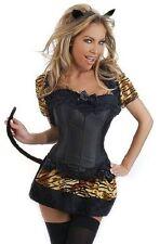 Daisy Corsets Women's 4 Piece Exotic Leopard Costume, Black, Large