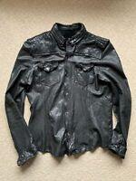 All Saints PHANTOM Leather Shirt Jacket Black Large Excellent Condition