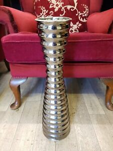 Ceramic  Ribbed Tapered Silver Vase 52cm High