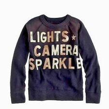 CREWCUTS GIRLS Lights Camera Sparkle Glitter Pullover Sweatshirt 16 Yrs $58 Gray
