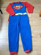 boys Superman all in one fleece dress up costume / pyjamas with cape 9-10