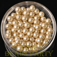 30pcs 8mm Round Glass Pearl Loose Spacer Beads Jewelry Making Baby Gold