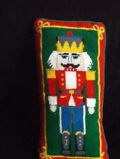 """Nutcracker Toy Soldier Christmas Needlepoint Pillow Wool 16"""" x 8"""" Exc"""