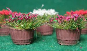 Half barrel planters - flowers (8) - OO Gauge/1:76 scale - Ready to place