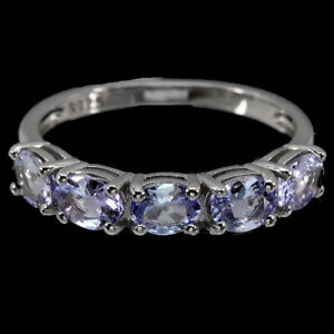 Unheated Oval Tanzanite 14K White Gold Plate 925 Sterling Silver Ring Size 8