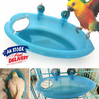 Bird Bathtub Shower Box Pet Cage Accessories Blue Mirror KS Bath Parrot