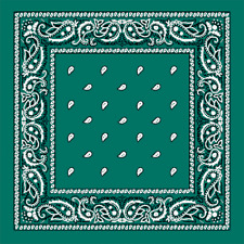 Teal Green Extra Large 100% Cotton Bandana Scarf Black White Paisley 27 inch sq