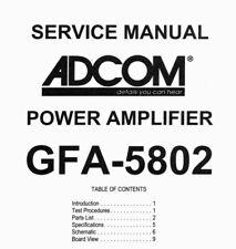 ADCOM GFA-5802 Schematic Diagram Service Manual Schaltplan Schematique