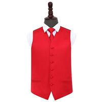 DQT Satin Plain Solid Red Mens Wedding Waistcoat & Tie Set S-5XL
