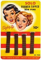 Vintage Lot of 6 Carded 1950's Solo Rubber Tipped Bob Pins Safety Tip Girly Art