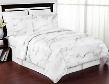 Sweet Jojo Modern Black Grey And White Neutral Chic Marble King Size Bedding Set