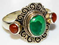 Sterling Silver Ethnic Asian Vintage Style Turquoise & Coral Ring Size V Gift