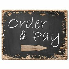 PP0408 Order Pay Here Sign Rustic Parking Plate Home Restaurant Cafe Gift Decor
