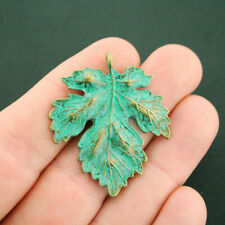 Maple Leaf Pendant Charm Antique Bronze Tone With Faux Patina 2 Sided - BC172