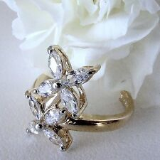 Size 7 Delicate Petal Ring CZ's Sterling Setting $29.99