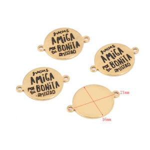 Black Letters Print Gold Stainless Steel Round Connectors Pendent for DIY Making