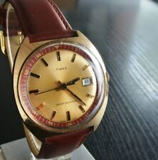 VINTAGE TIMEX 1972 SPORT DAY MECHANICAL WIND UP MEN'S GOLDEN LEATHER DRESS WATCH