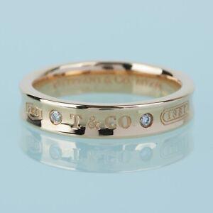 Tiffany & Co.1837 18K Rose Gold Diamond Narrow Wedding Band Ring