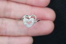 New 10K Sz8 Natural White Diamond Double Heart Promise Love Ring White Gold