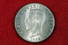 New listing 1924 - Sweden 1 Krona King Gustav V Sveriges Konung! #H10478