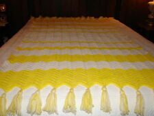 Handcrafted Crochet Afghan Throw Yellow and White Zig Zag Afghan