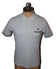 AUTH Fred Perry Men's Gray Rib Pocket Polo Shirt XS