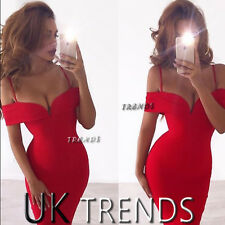 UK Womens Strappy Bardot Bodycon Party Deep V Plunge Ladies Midi Dress Size6-14