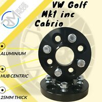 BLACK VW Golf Mk1 inc Cabrio 4x100 25mm Hubcentric Wheel spacers 1 pair