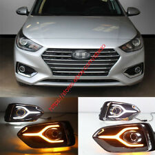DRL FOR HYUNDAI ACCENT 2018-19 LED DAYTIME RUNNING LIGHT FOG LAMP W TURN SIGNALS