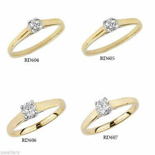 9 Carat Solitaire Yellow Gold Fine Rings
