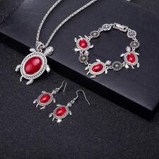 Wholesale Retro Red Turquoise Sea Turtle Pendant Necklace Earrings Bracelet Set