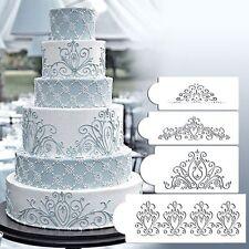 4PCS  Sugarcraft Cookie Mould Damask Lace Flower Fondant Cake Border Stencil