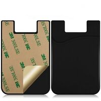 3PC Silicone Mobile Phone Wallet Credit Card Cash Stick Adhesive Holder Ca#ay