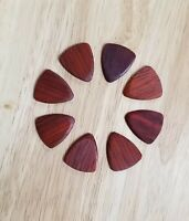 Set of 8 Padauk Wood Guitar Picks - Custom Guitar Picks, Ukulele Picks