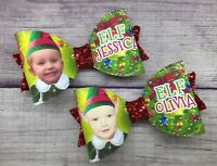 """** Personalised PHOTO Bow ** Elf Bow Glitter Hair Bow 3.5"""" Any Name Any Photo"""