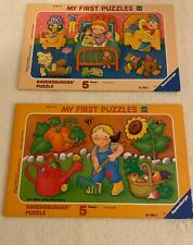 2 Vtg Ravensburger My First Puzzles 5 Piece Tray In The Garden In The Evening
