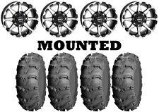 Kit 4 ITP Mud Lite XL Tires 26x10-12 on STI HD6 Machined Wheels IRS