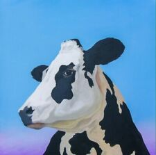 "Holy Cow Holstein 10""x10"" Farm Barn Yard Folk Art Giclee Print Signed Americana"