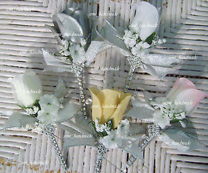 Wedding~Boutonniere~Corsage~Silver~White~Ivory~Pink~Blue~Champagne~Bling~Groom