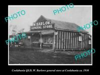 OLD LARGE HISTORIC PHOTO OF COOLABUNIA QLD, VIEW OF BARLOWS GENERAL STORE c1930